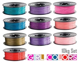 10x PLA Filament 1kg Rolle 1,75mm 10 Farben Girl-Colors für 3D Drucker 3D Printer oder Stift 10er Set (10Kg) - 1