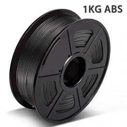 3D Filament, 3D Warhorse ABS 3D Printer Filament 1.75mm, 1KG Spool(2.2lbs),3D Printing Filament Dimensional Accuracy +/- 0.02mm-Bonus with 5M PCL Nozzle Cleaning Filament (Black) - 1