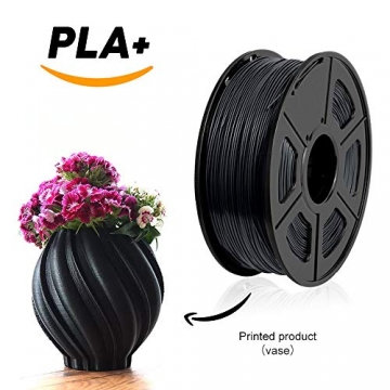 3D Printer Filament PLA+,PLA+ Filament 1.75 mm SUNLU,Low Odor Dimensional Accuracy +/- 0.02 mm 3D Printing Filament,2.2 LBS (1KG) Spool 3D Printer Filament for 3D Printers & 3D Pens,Black - 2