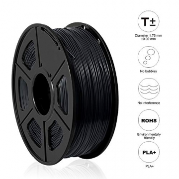 3D Printer Filament PLA+,PLA+ Filament 1.75 mm SUNLU,Low Odor Dimensional Accuracy +/- 0.02 mm 3D Printing Filament,2.2 LBS (1KG) Spool 3D Printer Filament for 3D Printers & 3D Pens,Black - 5