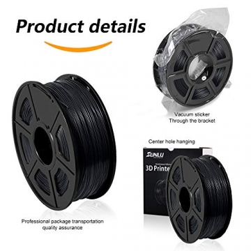 3D Printer Filament PLA+,PLA+ Filament 1.75 mm SUNLU,Low Odor Dimensional Accuracy +/- 0.02 mm 3D Printing Filament,2.2 LBS (1KG) Spool 3D Printer Filament for 3D Printers & 3D Pens,Black - 6