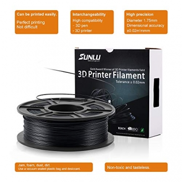 3D Printer Filament PLA+,PLA+ Filament 1.75 mm SUNLU,Low Odor Dimensional Accuracy +/- 0.02 mm 3D Printing Filament,2.2 LBS (1KG) Spool 3D Printer Filament for 3D Printers & 3D Pens,Black - 7