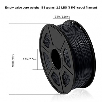 3D Printer Filament PLA+,PLA+ Filament 1.75 mm SUNLU,Low Odor Dimensional Accuracy +/- 0.02 mm 3D Printing Filament,2.2 LBS (1KG) Spool 3D Printer Filament for 3D Printers & 3D Pens,Black - 8