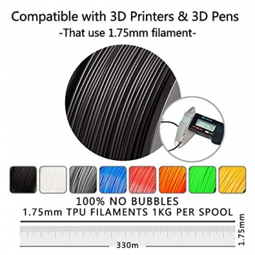 3D Printer Filament TPU,TPU Filament 1.75 mm SUNLU,Low Odor Dimensional Accuracy +/- 0.02 mm 3D Printing Filament,1.1LBS (0.5KG) Spool,Black TPU - 2