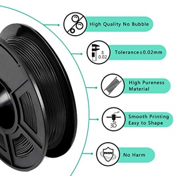 3D Printer Filament TPU,TPU Filament 1.75 mm SUNLU,Low Odor Dimensional Accuracy +/- 0.02 mm 3D Printing Filament,1.1LBS (0.5KG) Spool,Black TPU - 3