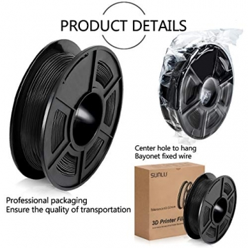3D Printer Filament TPU,TPU Filament 1.75 mm SUNLU,Low Odor Dimensional Accuracy +/- 0.02 mm 3D Printing Filament,1.1LBS (0.5KG) Spool,Black TPU - 4