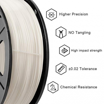 3D Warhorse 3D Filament, ABS 3D Printer Filament 1.75mm, 1KG Spool(2.2lbs),3D Printing Filament Dimensional Accuracy +/- 0.02mm-Bonus with 5M PCL Nozzle Cleaning Filament(White) - 2