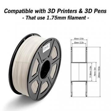 3D Warhorse 3D Filament, ABS 3D Printer Filament 1.75mm, 1KG Spool(2.2lbs),3D Printing Filament Dimensional Accuracy +/- 0.02mm-Bonus with 5M PCL Nozzle Cleaning Filament(White) - 4