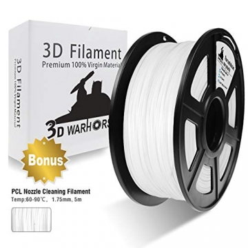 3D Warhorse 3D Filament, ABS 3D Printer Filament 1.75mm, 1KG Spool(2.2lbs),3D Printing Filament Dimensional Accuracy +/- 0.02mm-Bonus with 5M PCL Nozzle Cleaning Filament(White) - 1