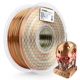 AMOLEN 3D Drucker Filament, Seide Metal Rainbow Multicolor 1.75mm PLA Filamen, 0.03 mm, 1KG/2.2LBS, 3D Drucker Materialien, enthält Proben Glow in the Dark Grün Filament. - 1