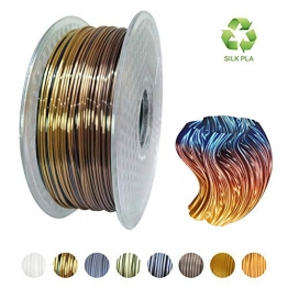 KEHAUSHINA Silk Pla Filament für 1.75mm 3D Drucker und Stifte, Multi Color, Rainbow Like, 1kg Multicolor Spule - 1