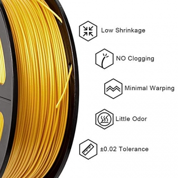 PLA Filament Gold, 3D Warhorse PLA Filament 1.75mm,PLA 3D Printer Filament, Dimensional Accuracy +/- 0.02 mm, 2.2 LBS(1KG),1.75mm Filament, Bonus with 5M PCL Nozzle Cleaning Filament - 2