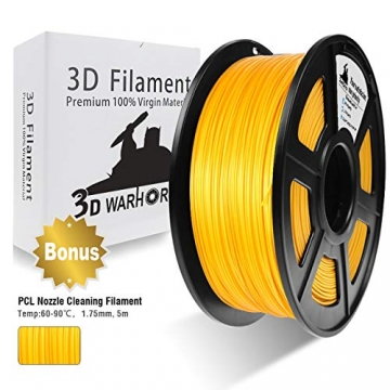 PLA Filament Gold, 3D Warhorse PLA Filament 1.75mm,PLA 3D Printer Filament, Dimensional Accuracy +/- 0.02 mm, 2.2 LBS(1KG),1.75mm Filament, Bonus with 5M PCL Nozzle Cleaning Filament - 1