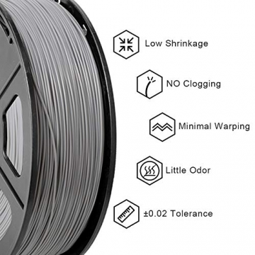 PLA Filament Silver, 3D Warhorse PLA Filament 1.75mm,PLA 3D Printer Filament,Dimensional Accuracy +/- 0.02 mm, 2.2 LBS(1KG),1.75mm Filament, Bonus with 5M PCL Nozzle Cleaning Filament - 2