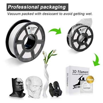 PLA Filament Silver, 3D Warhorse PLA Filament 1.75mm,PLA 3D Printer Filament,Dimensional Accuracy +/- 0.02 mm, 2.2 LBS(1KG),1.75mm Filament, Bonus with 5M PCL Nozzle Cleaning Filament - 4