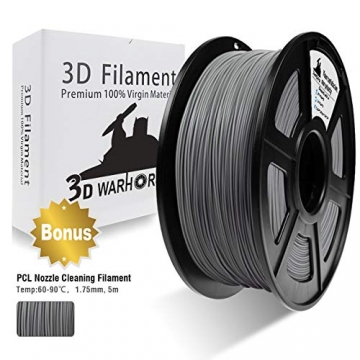 PLA Filament Silver, 3D Warhorse PLA Filament 1.75mm,PLA 3D Printer Filament,Dimensional Accuracy +/- 0.02 mm, 2.2 LBS(1KG),1.75mm Filament, Bonus with 5M PCL Nozzle Cleaning Filament - 1