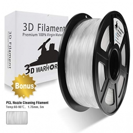 PLA Filament Transparent, 3D Warhorse PLA Filament 1.75mm,PLA 3D Printer Filament,Dimensional Accuracy +/- 0.02 mm, 2.2 LBS(1KG),1.75mm Filament, Bonus with 5M PCL Nozzle Cleaning Filament - 1