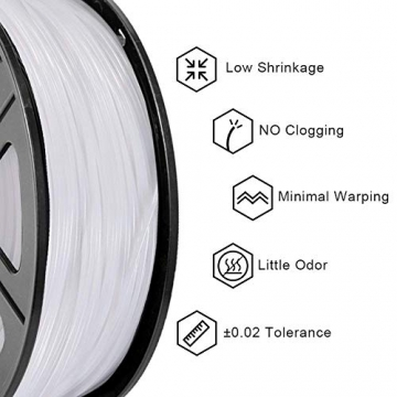 PLA Filament White, 3D Warhorse PLA Filament 1.75mm,PLA 3D Printer Filament, Dimensional Accuracy +/- 0.02 mm, 2.2 LBS(1KG),1.75mm Filament, Bonus with 5M PCL Nozzle Cleaning Filament - 2