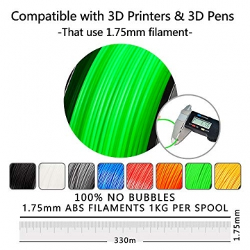 SUNLU 3D Printer Filament ABS, 1.75mm ABS 3D Printer Filament, 3D Printing Filament ABS for 3D Printer, 1kg, Green - 2