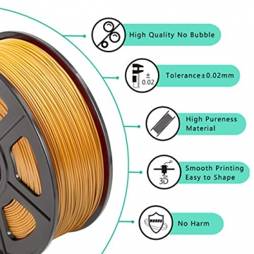 SUNLU 3D Printer Filament ABS, 1.75mm ABS 3D Printer Filament, 3D Printing Filament ABS for 3D Printer, 1kg, Gold - 3