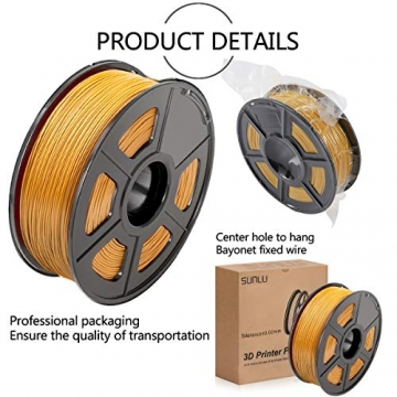 SUNLU 3D Printer Filament ABS, 1.75mm ABS 3D Printer Filament, 3D Printing Filament ABS for 3D Printer, 1kg, Gold - 4