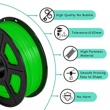 SUNLU 3D Printer Filament ABS, 1.75mm ABS 3D Printer Filament, 3D Printing Filament ABS for 3D Printer, 1kg, Green - 3