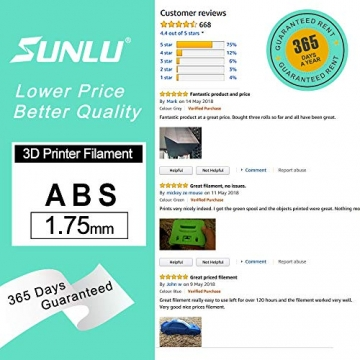 SUNLU 3D Printer Filament ABS, 1.75mm ABS 3D Printer Filament, 3D Printing Filament ABS for 3D Printer, 1kg, Gold - 6