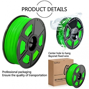 SUNLU 3D Printer Filament ABS, 1.75mm ABS 3D Printer Filament, 3D Printing Filament ABS for 3D Printer, 1kg, Green - 4