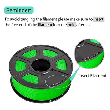 SUNLU 3D Printer Filament ABS, 1.75mm ABS 3D Printer Filament, 3D Printing Filament ABS for 3D Printer, 1kg, Green - 8