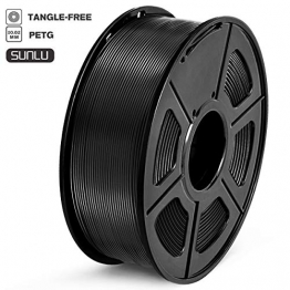 Sunlu 3D Printer Filament PETG, 1,75 mm PETG Filament, 3D Printing Filament Low Geruch, Dimensional Accuracy +/- 0.02 mm, 2.2 LBS (1KG) Spool 3D Filament, schwarz, 0 - 1