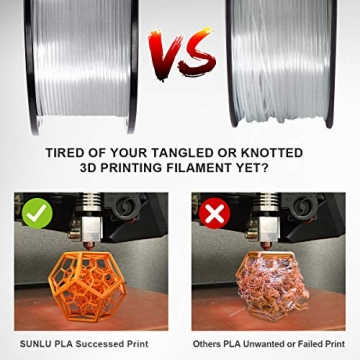 Sunlu 3D Printer Filament PLA 1,75 mm PLA Filament, 3D Printing Filament Low Geruch, Dimensional Accuracy +/- 0.02 mm, 2.2 LBS (1KG) Spool 3D Filament, transparent, 0 - 3