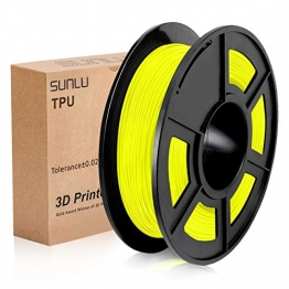 SUNLU 3D Printer Filament TPU,TPU Filament 1.75 mm,Low Odor Dimensional Accuracy +/- 0.02 mm 3D Printing Filament,1.1LBS (0.5KG) Spool,Yellow TPU - 1