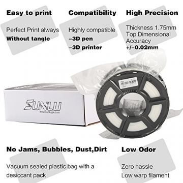 SUNLU ABS Plus 3D Printer Filament, ABS Filament 1.75 mm, 3D Printing filament Low Odor Dimensional Accuracy +/- 0.02 mm, 2.2 LBS (1KG) Spool,White ABS+ - 5