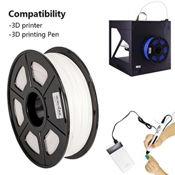 SUNLU ABS Plus 3D Printer Filament, ABS Filament 1.75 mm, 3D Printing filament Low Odor Dimensional Accuracy +/- 0.02 mm, 2.2 LBS (1KG) Spool,White ABS+ - 6