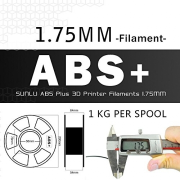 SUNLU ABS Plus 3D Printer Filament, ABS Filament 1.75 mm, 3D Printing filament Low Odor Dimensional Accuracy +/- 0.02 mm, 2.2 LBS (1KG) Spool,White ABS+ - 7