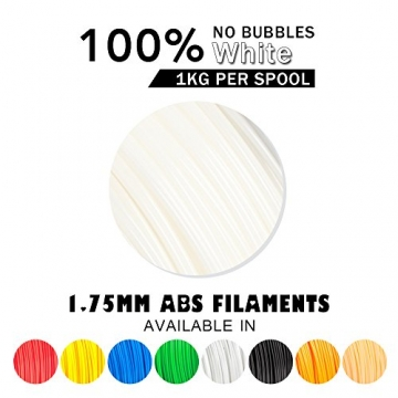 SUNLU ABS Plus 3D Printer Filament, ABS Filament 1.75 mm, 3D Printing filament Low Odor Dimensional Accuracy +/- 0.02 mm, 2.2 LBS (1KG) Spool,White ABS+ - 2