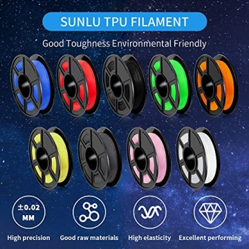 SUNLU TPU Flexible Filament 1.75mm for 3D Printer 500g/Spool Dimensional Accuracy +/-0.03mm, Orange - 2