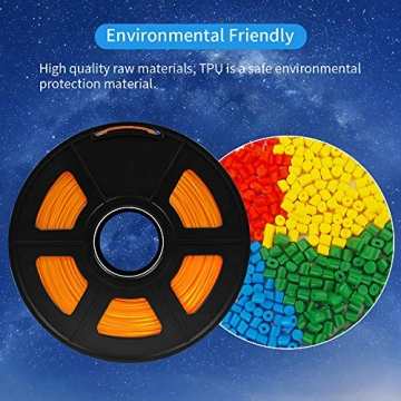SUNLU TPU Flexible Filament 1.75mm for 3D Printer 500g/Spool Dimensional Accuracy +/-0.03mm, Orange - 3