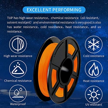 SUNLU TPU Flexible Filament 1.75mm for 3D Printer 500g/Spool Dimensional Accuracy +/-0.03mm, Orange - 4